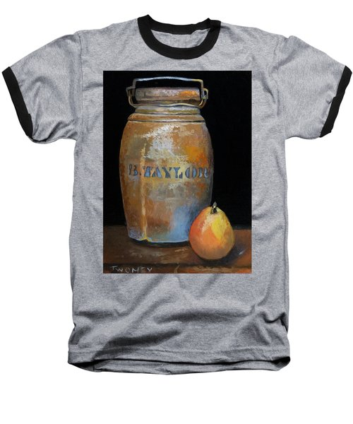 Taylor Jug With Pear Baseball T-Shirt by Catherine Twomey