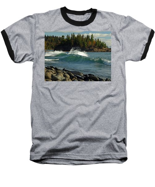 Teal Blue Waves Baseball T-Shirt by Melissa Peterson