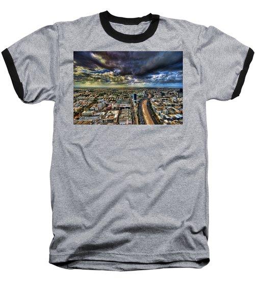 Baseball T-Shirt featuring the photograph Tel Aviv Blade Runner by Ron Shoshani