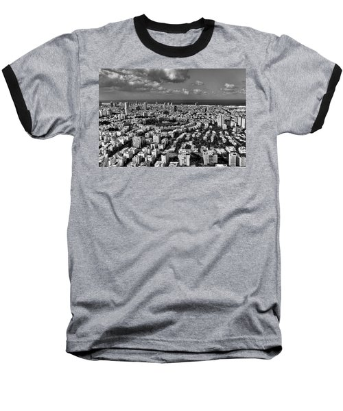 Tel Aviv Center Black And White Baseball T-Shirt