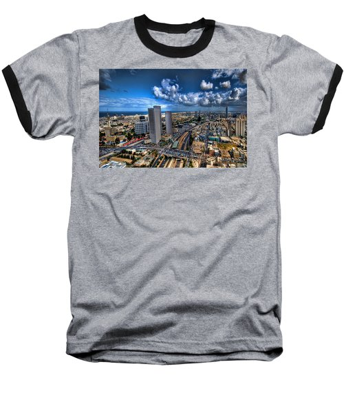 Tel Aviv Center Skyline Baseball T-Shirt