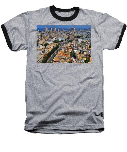 Tel Aviv Eagle Eye View Baseball T-Shirt by Ron Shoshani