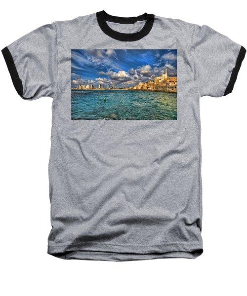 Tel Aviv Jaffa Shoreline Baseball T-Shirt by Ron Shoshani