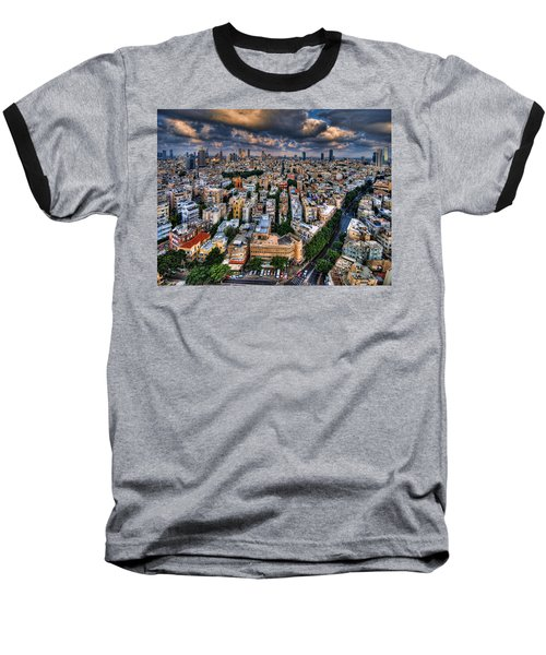 Baseball T-Shirt featuring the photograph Tel Aviv Lookout by Ron Shoshani