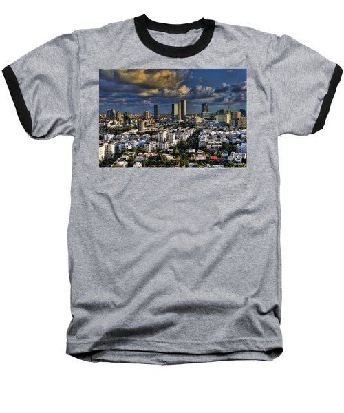Baseball T-Shirt featuring the photograph Tel Aviv Skyline Fascination by Ron Shoshani