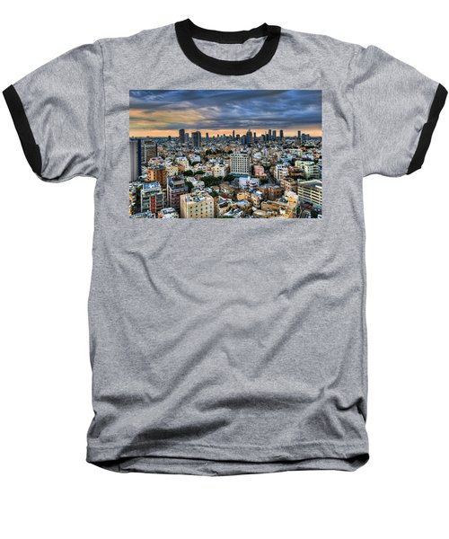Baseball T-Shirt featuring the photograph Tel Aviv Skyline Winter Time by Ron Shoshani