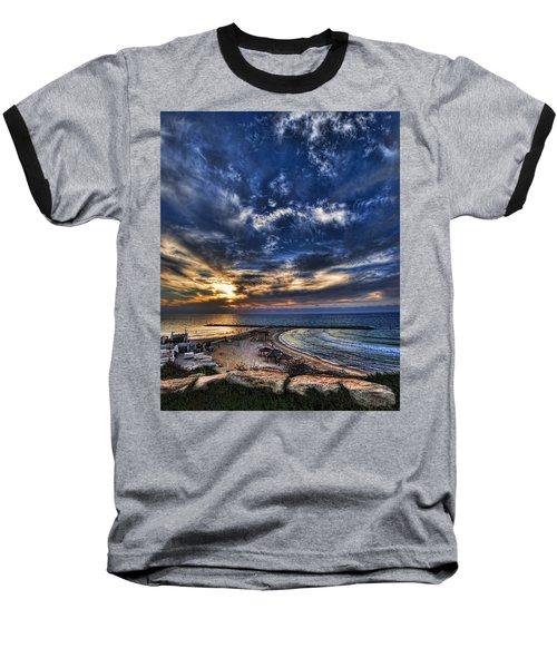Baseball T-Shirt featuring the photograph Tel Aviv Sunset At Hilton Beach by Ron Shoshani