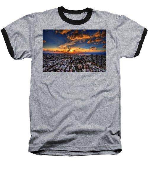 Tel Aviv Sunset Time Baseball T-Shirt by Ron Shoshani