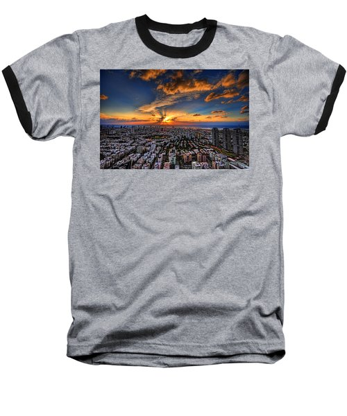 Tel Aviv Sunset Time Baseball T-Shirt