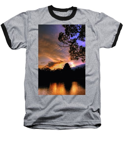 Baseball T-Shirt featuring the photograph A Temple Sunset Japan by John Swartz
