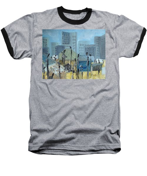 Baseball T-Shirt featuring the painting Tent City Homeless by Judith Rhue