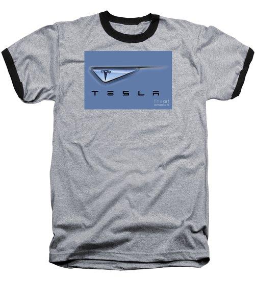 Tesla Model S Baseball T-Shirt by David Millenheft