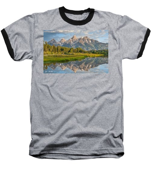 Baseball T-Shirt featuring the photograph Teton Range Reflected In The Snake River by Jeff Goulden