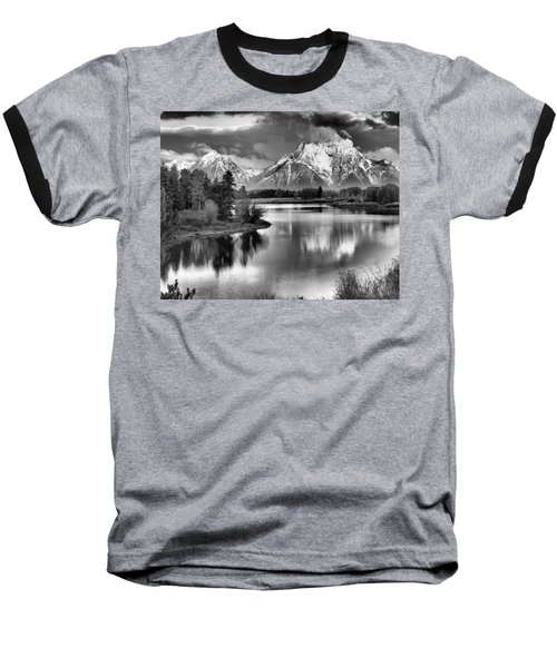 Tetons In Black And White Baseball T-Shirt