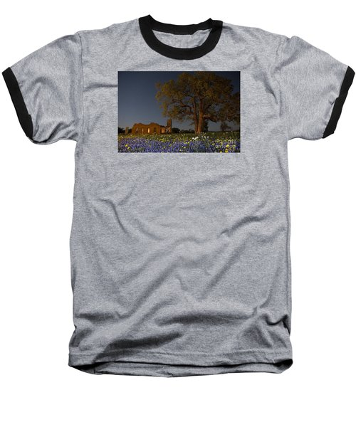 Baseball T-Shirt featuring the photograph Texas Blue Bonnets At Night by Keith Kapple