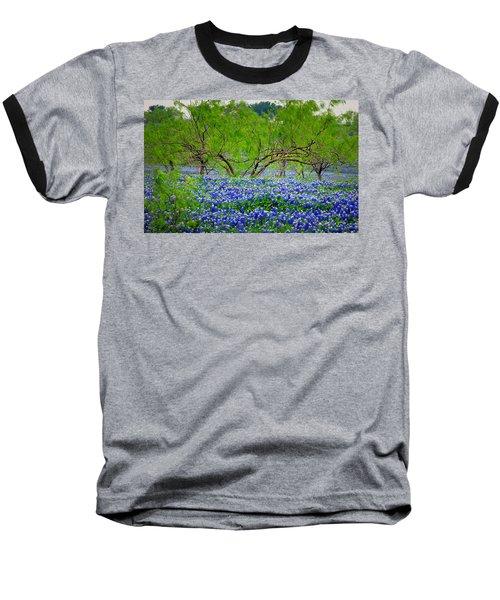 Baseball T-Shirt featuring the photograph Texas Bluebonnets - Texas Bluebonnet Wildflowers Landscape Flowers by Jon Holiday