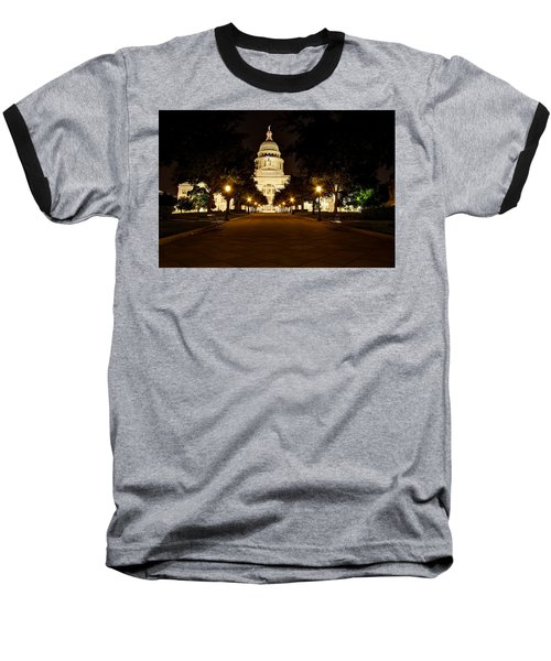Texas Capitol At Night Baseball T-Shirt by Dave Files