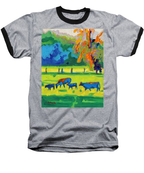 Texas Cows At Sunset Oil Painting Bertram Poole Apr14 Baseball T-Shirt by Thomas Bertram POOLE