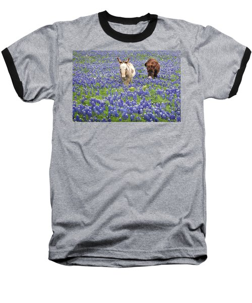 Baseball T-Shirt featuring the photograph Texas Donkeys And Bluebonnets - Texas Wildflowers Landscape by Jon Holiday