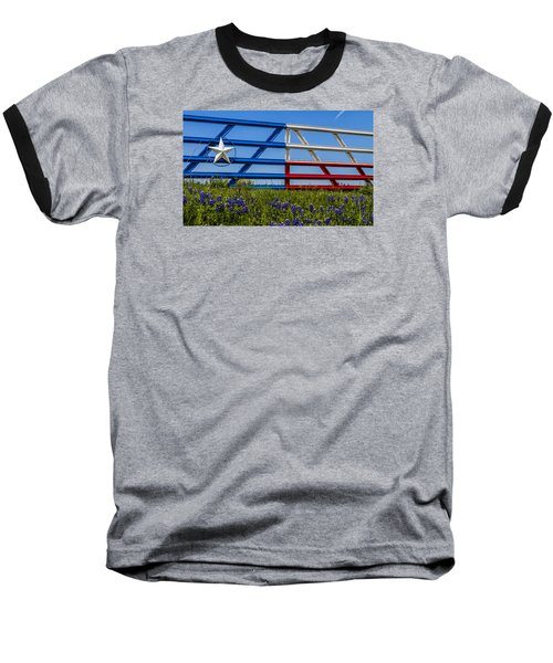 Texas Flag Painted Gate With Blue Bonnets Baseball T-Shirt