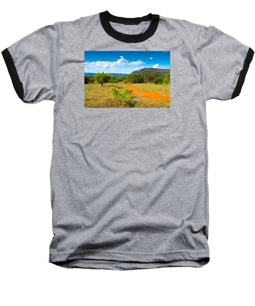 Texas Hill Country Red Dirt Road Baseball T-Shirt by Darryl Dalton