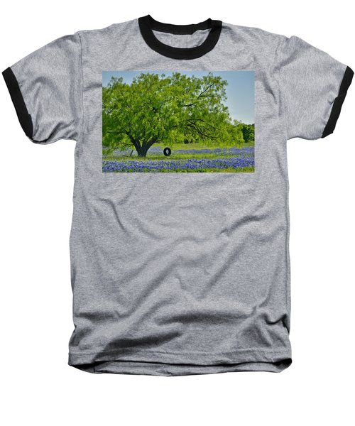 Baseball T-Shirt featuring the photograph Texas Life - Bluebonnet Wildflowers Landscape Tire Swing by Jon Holiday