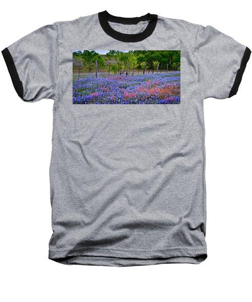 Baseball T-Shirt featuring the photograph Texas Roadside Heaven -bluebonnets Paintbrush Wildflowers Landscape by Jon Holiday