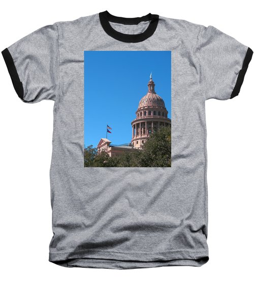 Texas State Capitol With Pediment Baseball T-Shirt by Connie Fox