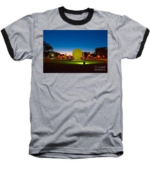 Baseball T-Shirt featuring the photograph Texas Tech Seal At Night by Mae Wertz