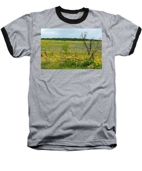 Texas Wildflowers And Mesquite Tree Baseball T-Shirt
