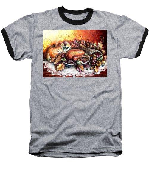 Thanksgiving Dinner Baseball T-Shirt by Shana Rowe Jackson