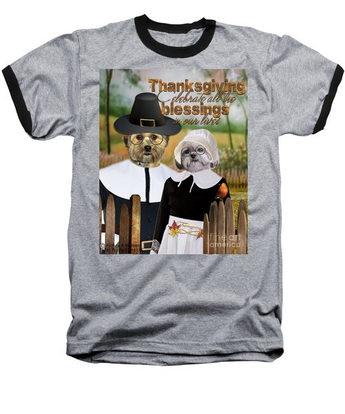 Baseball T-Shirt featuring the digital art Thanksgiving From The Dogs-2 by Kathy Tarochione