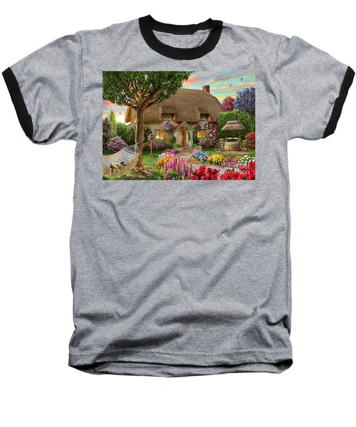 Thatched Cottage Baseball T-Shirt by Adrian Chesterman