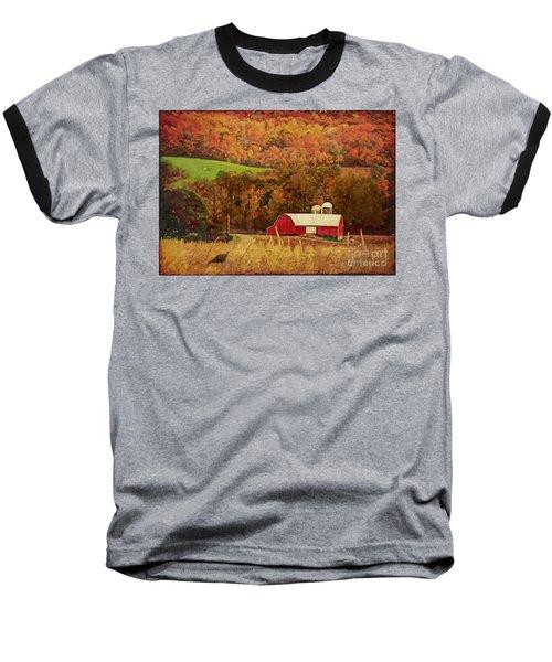 Baseball T-Shirt featuring the digital art The Autumn Barn by Lianne Schneider