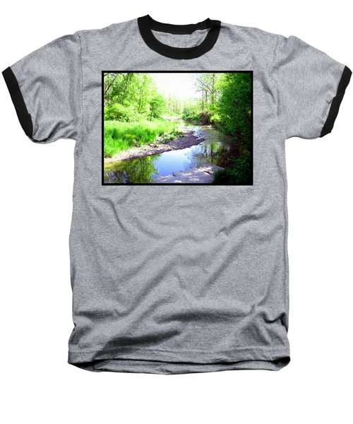 The Babbling Stream Baseball T-Shirt by Shawn Dall