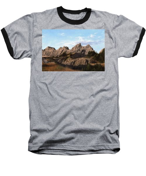 The Badlands In South Dakota Oil Painting Baseball T-Shirt