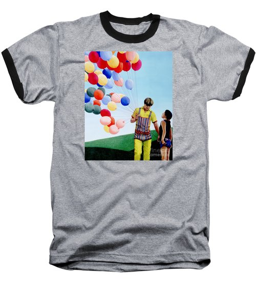 Baseball T-Shirt featuring the painting The Balloon Man by Michael Swanson