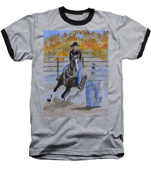 The Barrel Race Baseball T-Shirt by Warren Thompson
