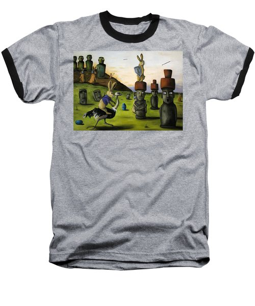 The Battle Over Easter Island Baseball T-Shirt by Leah Saulnier The Painting Maniac