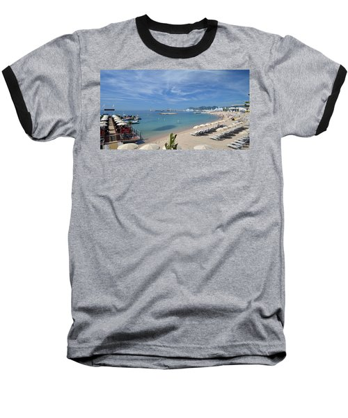 Baseball T-Shirt featuring the photograph The Beach At Cannes by Allen Sheffield