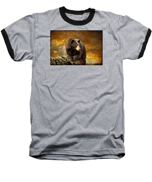 The Bear Went Over The Mountain Baseball T-Shirt by Lois Bryan
