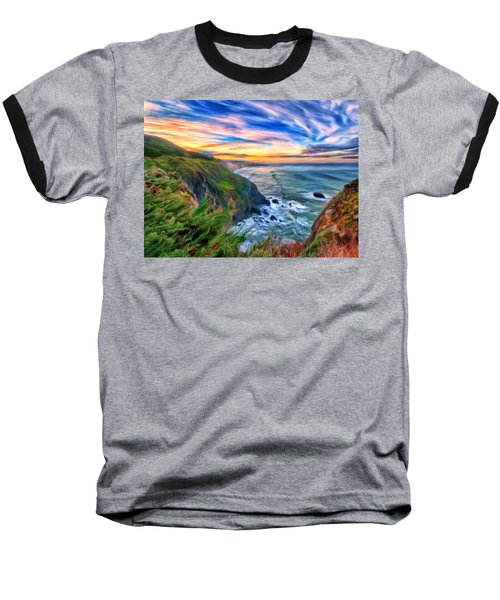 Baseball T-Shirt featuring the painting The Beauty Of Big Sur by Michael Pickett