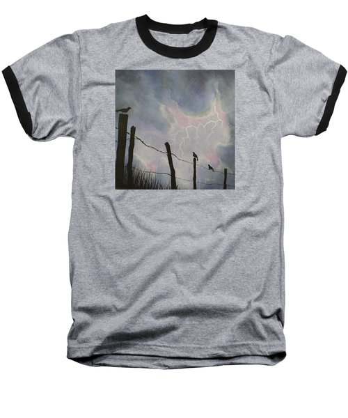 The Birds - Watching The Show Baseball T-Shirt by Jack Malloch
