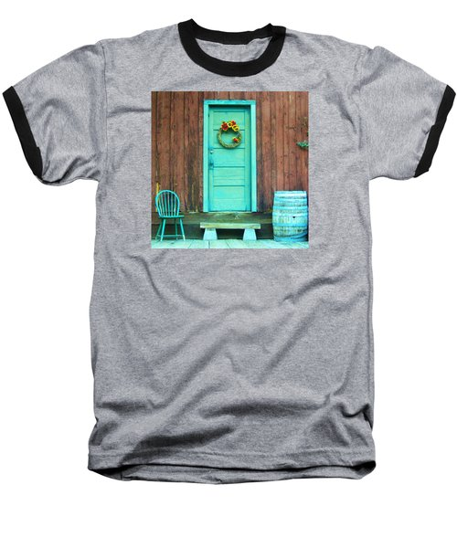 Baseball T-Shirt featuring the photograph The Blue Door by Marilyn Diaz
