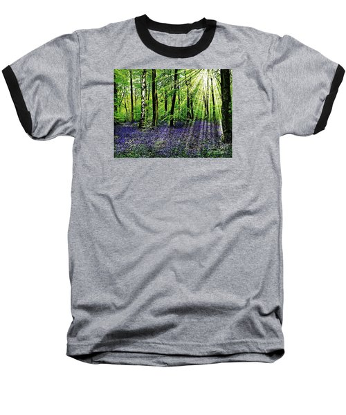Baseball T-Shirt featuring the mixed media The Bluebell Woods by Morag Bates