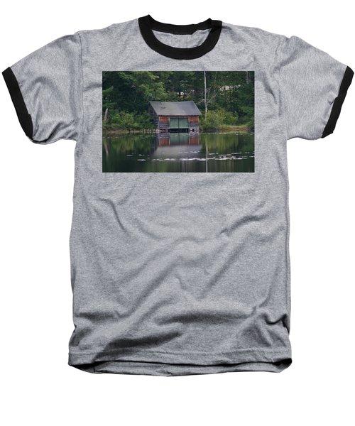 The Boat House On Mt Chocorua Lake Baseball T-Shirt by Denyse Duhaime