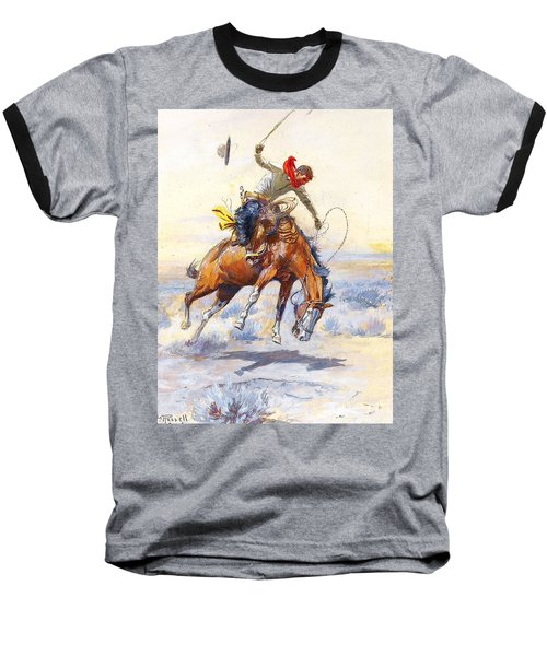 The Bucker By Charles M Russell Baseball T-Shirt by Pg Reproductions