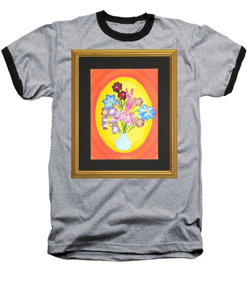 Baseball T-Shirt featuring the painting The Bud Vase by Ron Davidson