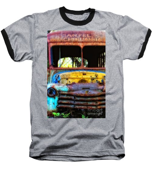 Baseball T-Shirt featuring the photograph The Bus Stops Here by Erika Weber