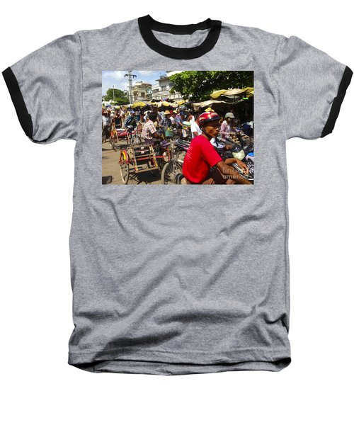 Baseball T-Shirt featuring the photograph The Bustling Traffic On 27th Street Zay Cho Street Market Mandalay Burma by Ralph A  Ledergerber-Photography